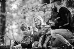 巨大乐趣 母亲,父爱他们的小男孩孩子 有父母的愉快的儿子在秋天森林秋天天气放松 库存照片