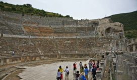 巨大剧院在以弗所古城 图库摄影