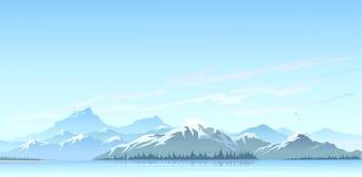巨大喜马拉雅雪峰顶和冷水湖 免版税库存照片