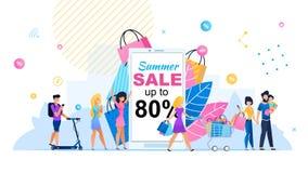巨大夏天销售80%平的横幅 向量例证