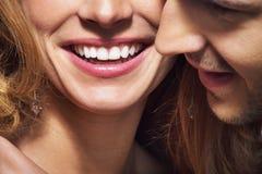 巨大微笑和白色牙好的射击  图库摄影