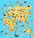 巨大旅行迷宫比赛 寻找他正确的方式家庭为袋鼠 免版税库存图片