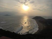 巨大日落在Irago,日本 免版税库存图片
