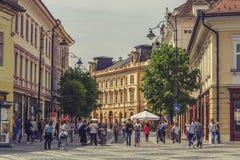 巨大正方形,锡比乌,罗马尼亚 库存照片