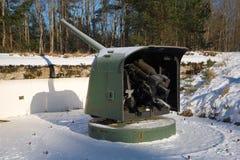 巨大爱国战争的期间的海军炮对位置的 堡垒Krasnaya戈尔卡 库存照片