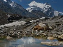 巨大的冰川Drang Drog在Zanskar :一个壮观的冰峰顶、强有力的冰碛与冰夹层和一蓝色冰河la 免版税图库摄影