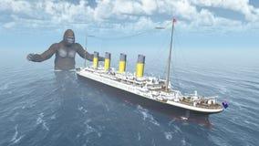 巨大的大猩猩和远洋班轮 库存例证