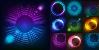 巨大的套与闪烁的发光的回合 摘要您的企业想法的色的形状 传染媒介商标背景illustrati 免版税库存图片