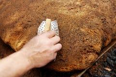 巨大的家制面包 免版税库存图片