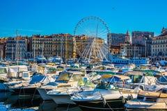 巨大的弗累斯大转轮马赛旧港口 免版税库存照片