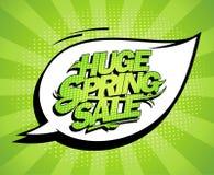 巨大的春天销售设计,新鲜的绿色广告横幅 皇族释放例证
