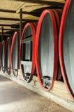 巨大的木葡萄酒桶在老地窖里 免版税库存照片