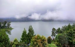 巨大的湖美好的风景,有树的和薄雾制造镇定的气氛 库存照片
