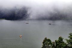 巨大的湖美好的风景,有树的和薄雾制造镇定的气氛 库存图片
