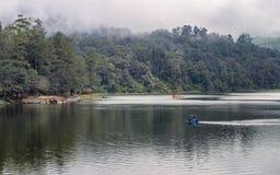 巨大的湖美好的风景,有树的,房子和薄雾制造镇定的气氛 库存照片