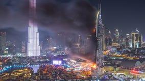 巨大的火灾事故从地址旅馆发生了在新年2016年庆祝timelapse前 股票录像