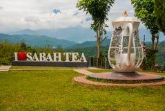 巨大的白色字法我爱沙巴茶,并且水壶金属攫取 婆罗洲,马来西亚 免版税库存图片