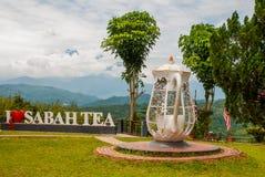 巨大的白色字法我爱沙巴茶,并且水壶金属攫取 婆罗洲,马来西亚 图库摄影