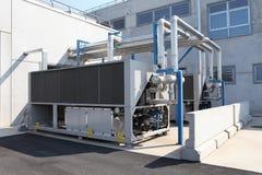 巨大的空调装置、中央系统暖气和冷却系统c 免版税库存图片