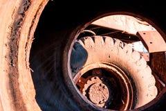 巨大的肮脏的车轮种类里面 免版税图库摄影