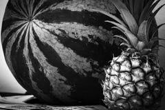 巨大的西瓜和一个水多的菠萝 免版税库存照片