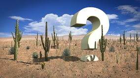 巨大的问号在热的沙漠 库存照片