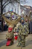 巨大的面具Surva哑剧演员保加利亚 免版税库存照片