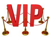 巨大的3d在VIP和金黄绳索障碍上写字 免版税库存照片