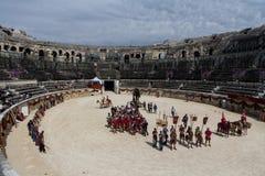 巨大罗马比赛在尼姆,法国 库存图片
