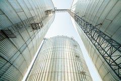 巨大,银色,发光的农业筒仓 免版税库存图片