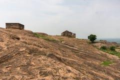 巨石城平原里面历史的丁迪古尔岩石堡垒 图库摄影