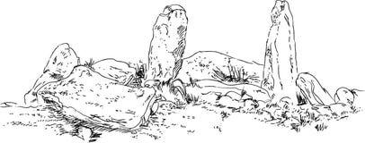 巨石结构, 草图 概述图表 免版税库存图片