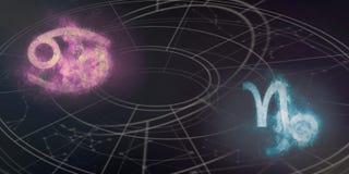 巨蟹星座和山羊座占星标志兼容性 夜空Ab 库存照片