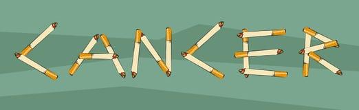 巨蟹星座字法由香烟制成 抽烟导致癌症概念 香烟信件 反烟草agit的传染媒介例证 免版税库存照片