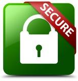 巩固挂锁象绿色正方形按钮 免版税库存图片