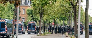 巩固欧洲机关的警察分谴舰队背面图在史特拉斯堡 免版税库存照片