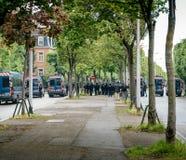 巩固欧洲机关的警察分谴舰队背面图在史特拉斯堡 库存照片