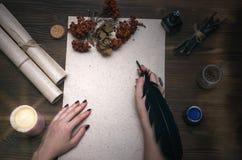 巫医 僧人 巫术 不可思议的桌 替代竹浴biloba银杏树项目医学温泉盘 免版税图库摄影