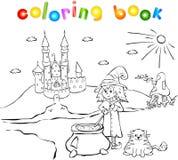 年轻巫婆、猫、城堡和蘑菇房子 免版税库存图片