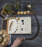 巫婆为月亮仪式做准备 免版税库存图片