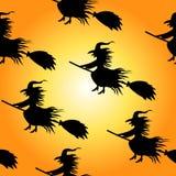 巫婆剪影无缝的传染媒介样式 向量例证