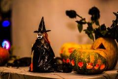 巫婆和南瓜 免版税库存照片