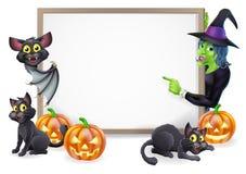 巫婆和吸血蝙蝠万圣夜标志 库存图片