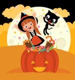 巫婆和她的猫庆祝万圣夜 免版税图库摄影