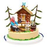 巫婆和房子结块与森林,猫头鹰,猫,蜡烛,被隔绝在白色 库存照片