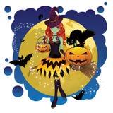 巫婆和满月 向量例证