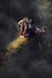 巫婆在一个黑暗的有薄雾的森林里 免版税库存照片