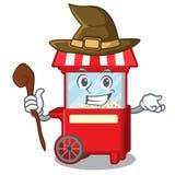 巫婆在吉祥人隔绝的玉米花机器 库存例证