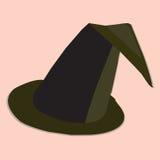 巫婆在白色背景的帽子例证 免版税库存图片