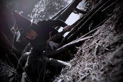 巫婆在黑针对性的帽子森林里 图库摄影